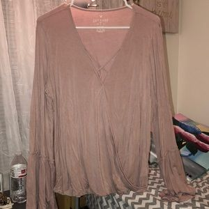 Dusty rose criss-cross blouse from American Eagle